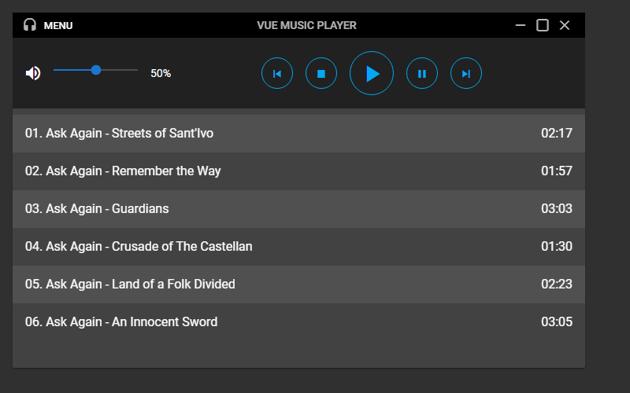 The player volume slider