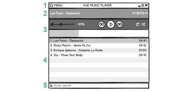 Vue music player wireframe sketch