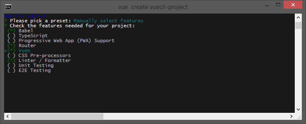 Create a project with Vue CLI Manually select features