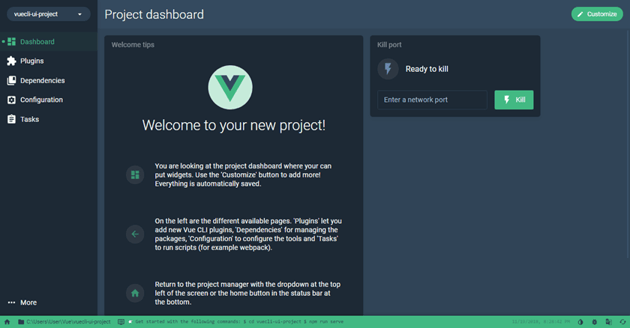 Create a new project with Vue UI Welcome to your new project