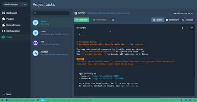 Project Dashboard serve task output