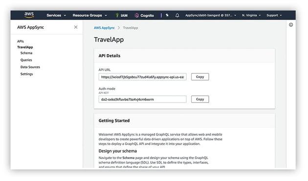 AppSync app dashboard