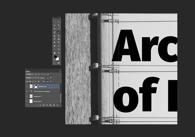 Using the brush tool to reveal parts of the text
