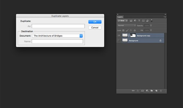 Duplicating layers onto a new document