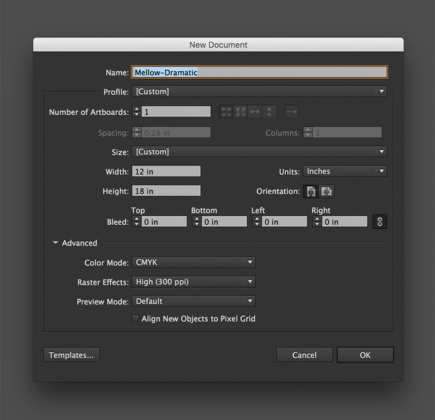 Create a new document in Illustrator