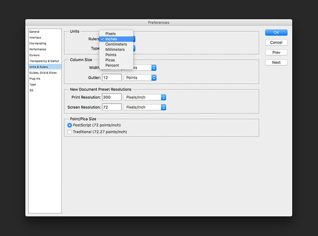 Activate rulers and change Units to Inches on Preferences if desired