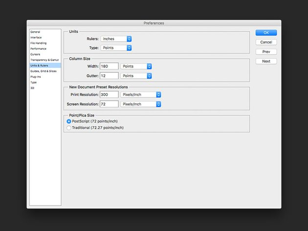 Set up rulers If desired change the units through the Preferences menu