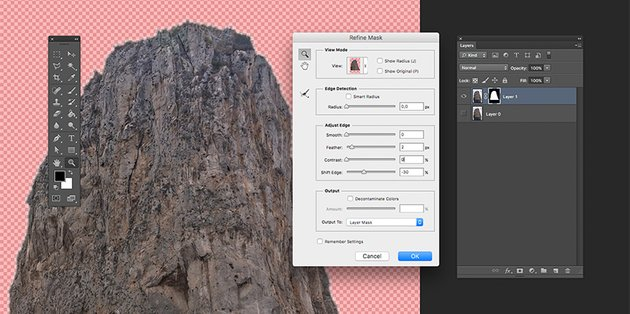 Refine the edges on the Layer Mask through the Refine Mask option