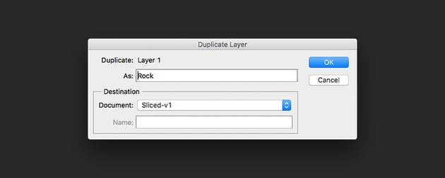 Duplicate the rocks to the newly created file
