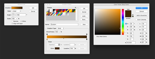 Color each of the shapes we created for each rock piece using the Gradient Tool