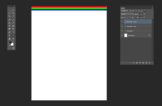 With the Rectangle Tool create horizontal lines in green blue and red colors