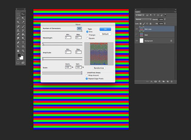 Rasterize the horizontal lines and apply the Wave filter
