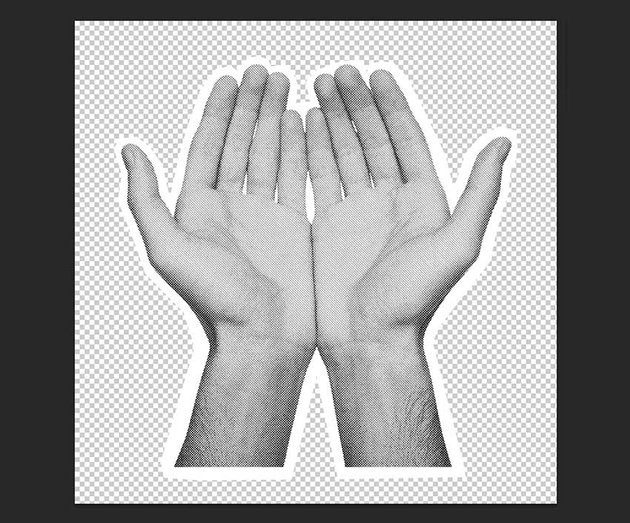 Using the Polygonal Lasso Tool crop the hands with a white border