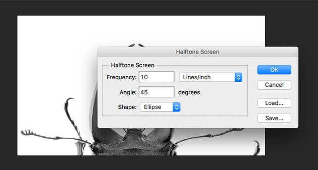 Set the Halftone screen window options