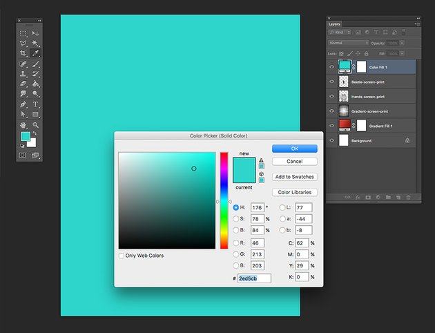 Add a solid color adjustment layer with a turquoise color