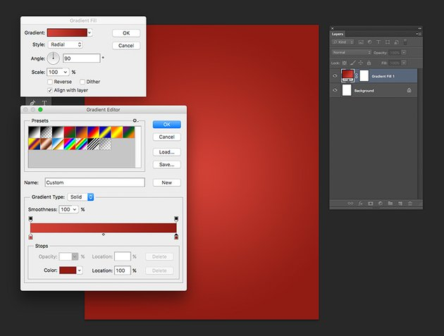 Add a Gradient Fill layer with a Radial style from dark red to light red