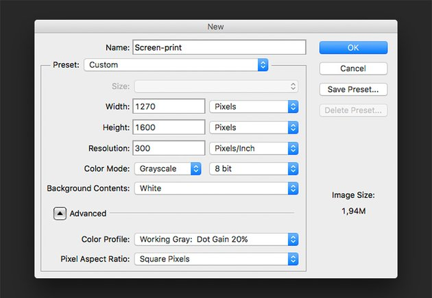 Create a new Photoshop file to create the Screen Print effect