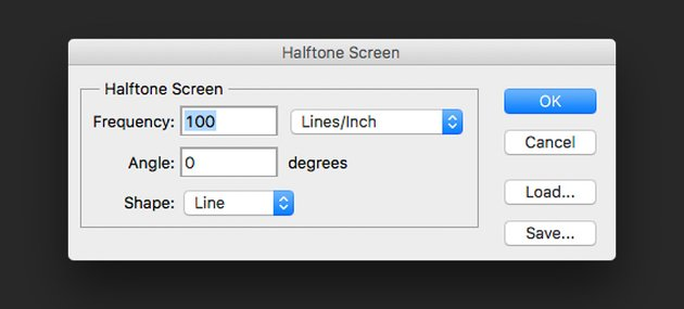 Set the Frequency Angle and Shape on the Halftone Screen settings window