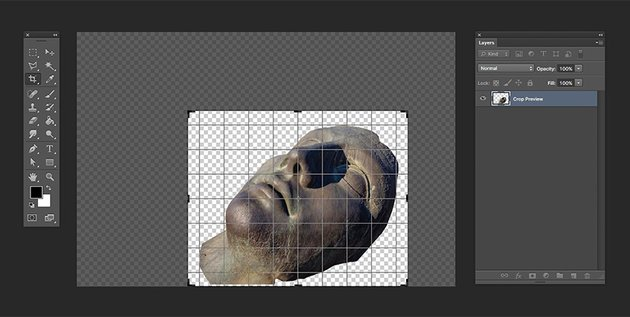 Crop the image to just around the statue