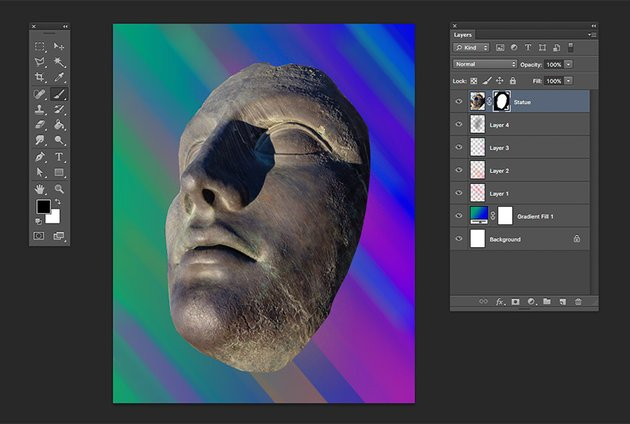 Refine the masking on the statue image