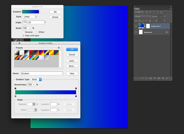 Add a gradient fill layer with a linear style from color green to blue