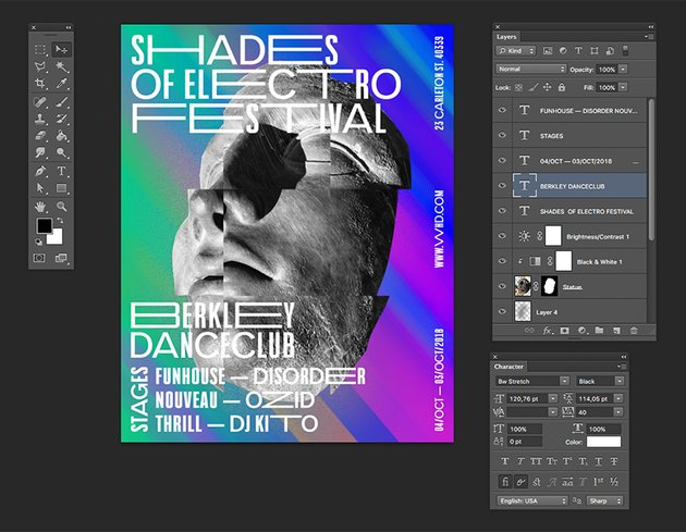Add a few more text details to the poster to create a visually interesting composition You can rotate text with the transform tool