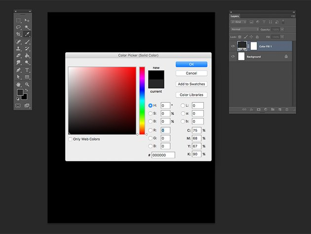 Create a Solid Color Adjustment Layer and choose the color black