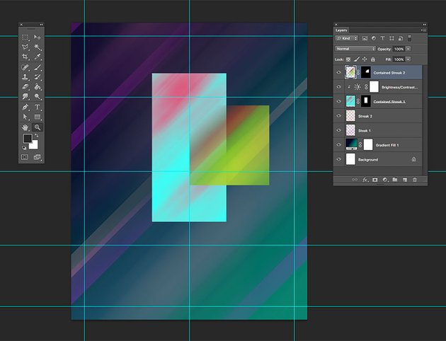 Using the brush tool fade a corner of the square