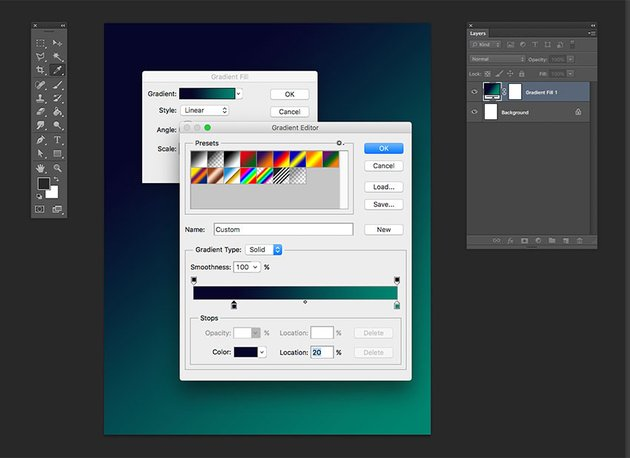 On the gradient editor option window set the color pickers to blue and green on the left and right hand side