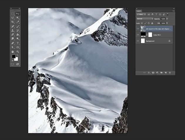 Drag the ski slopes image and resize