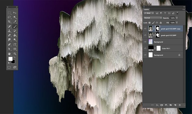 Using the brush tool hide and reveal parts of the image