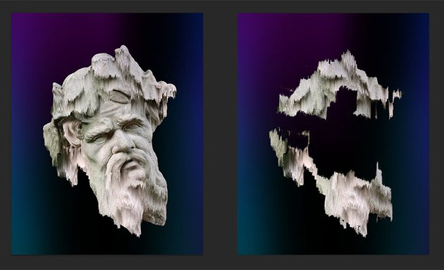 On the left is the final image composition of the two layers On the right is the Wind Blast effect layer shown by itself
