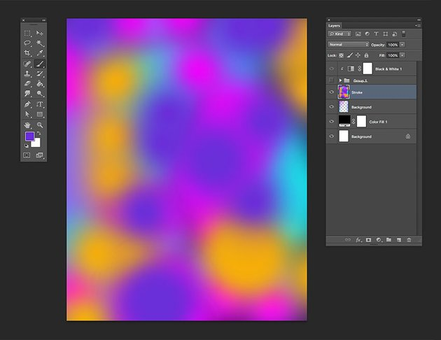 Using the brush tool create a colorful composition