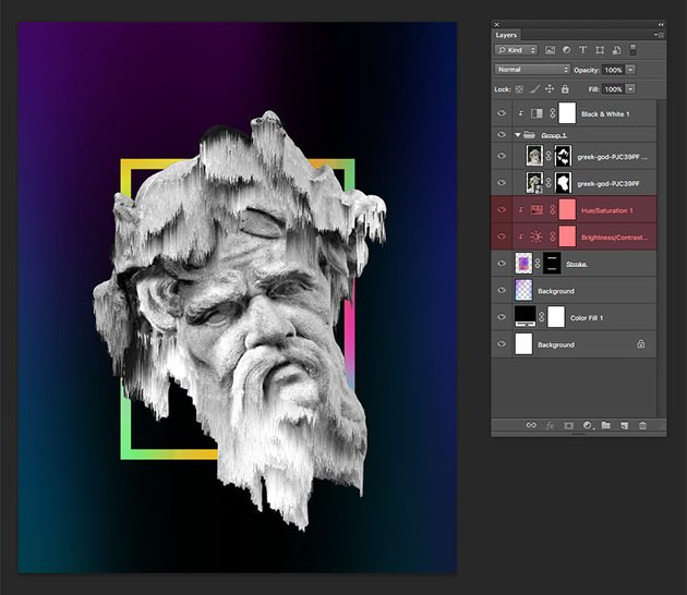 Add adjustment layers to tweak the colors and brightness