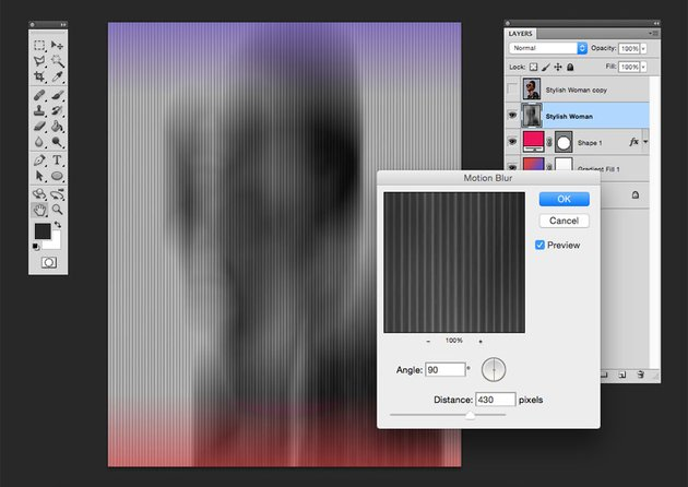Use the Motion blur filter lower the opacity and set the layer to multiply