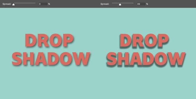 Spread controls how far the shadow spreads