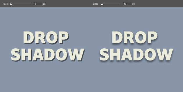 Size determines the softness of the drop shadow