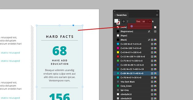 Use the tint slider to change the color on the facts background