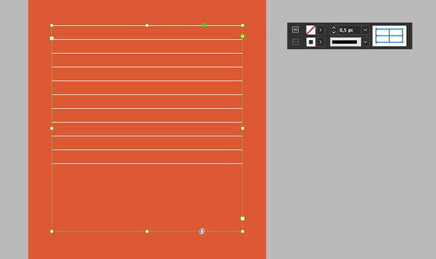 using the control bar add horizontal strokes to the table