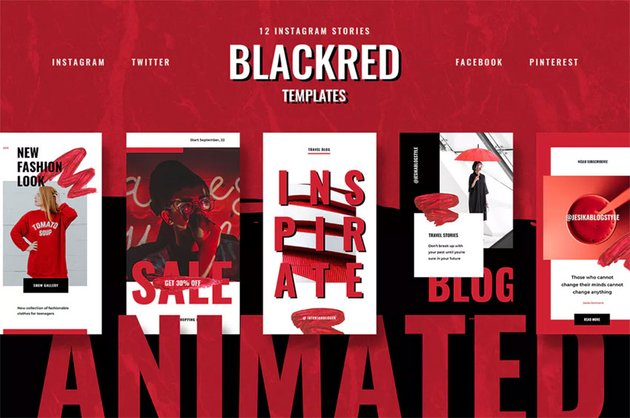 Animated black red instagram stories