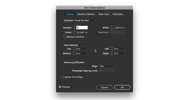 add a text frame and create two columns
