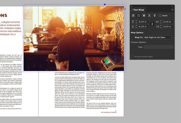 add an image on the opposite page and use the text wrap tool