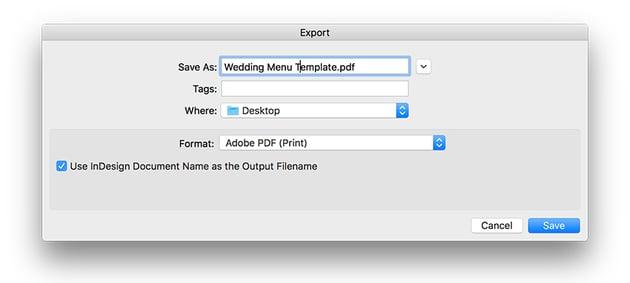expor the file as a PDF for print