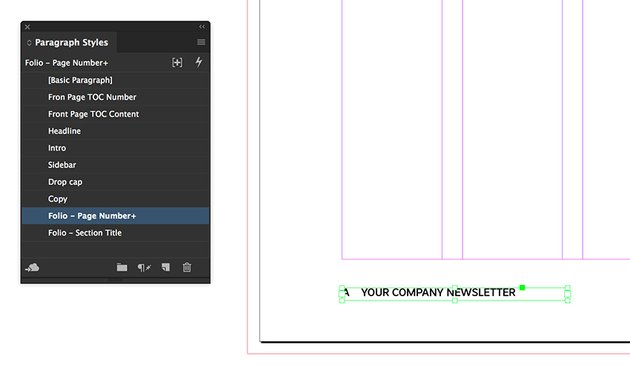 add page numbers to the master pages