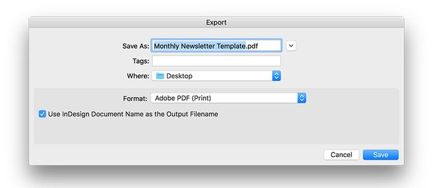 export the file for printing