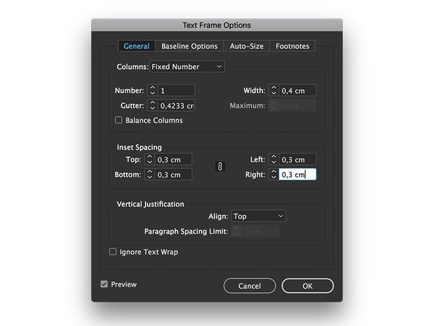 use the text frame options to add an inset spacing