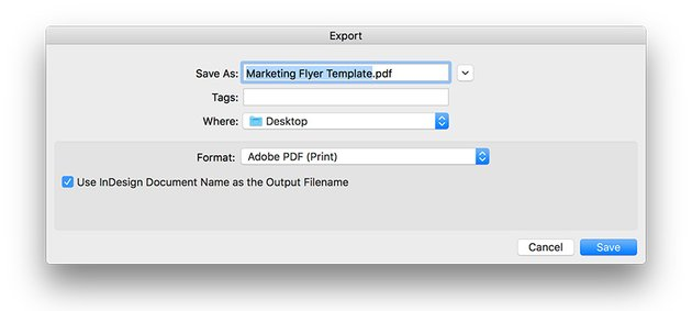 export the marketing flyer template as a PDF
