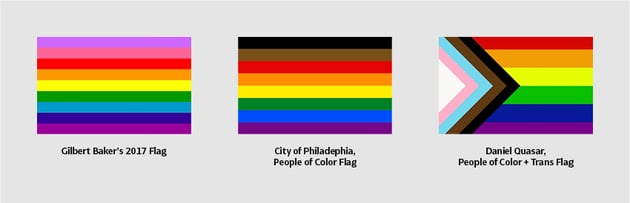 Gilbert Baker 2017 Flag City of Philadelphia People of Color Flag Daniel Quasar People of Color and Trans Flag