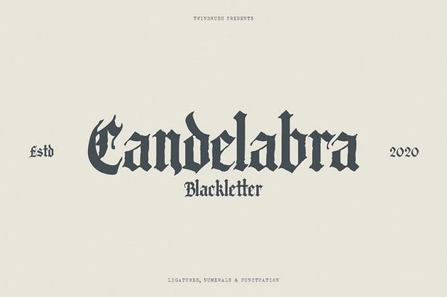 Futura font pairing Candelabra