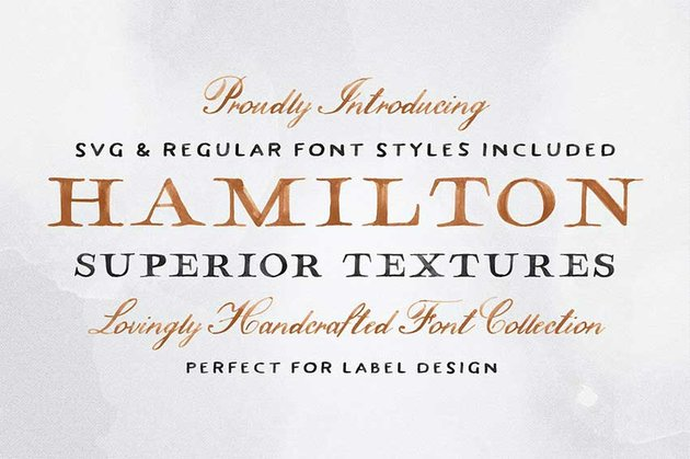 Futura font pairing Hamilton SVG font collection